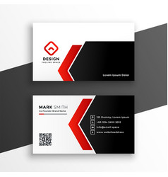 elegant red business card with geometric shapes vector image