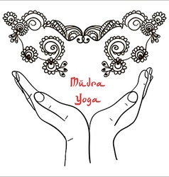 Element yoga mudra hands with mehendi patterns vector image