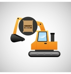 Excavator machine concrete graphic vector