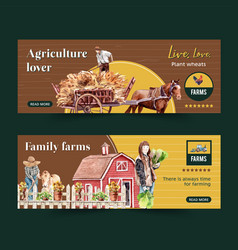 Farmer banner design with cart cow hedge vector