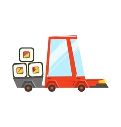 Fast Delivery Takeout Service Red Car With Trailer vector