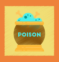 flat shading style icon potion cauldron vector image