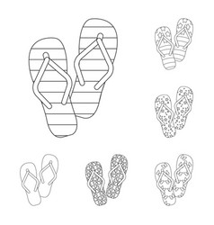 Flip-flops outline icons in set collection for vector