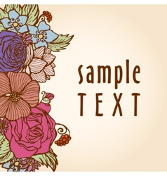 Flowers background in retro style vector