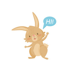 friendly brown rabbit saying hi little bunny vector image
