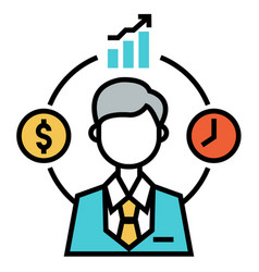 Fund manager flatoutline vector