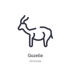 Gazelle outline icon isolated line from animals vector