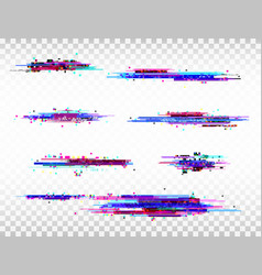 Glitch color elements set digital noise abstract vector