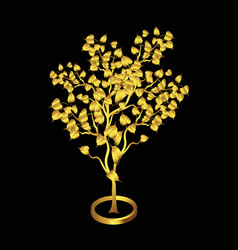 Gold bodhi tree isolated on black background vector