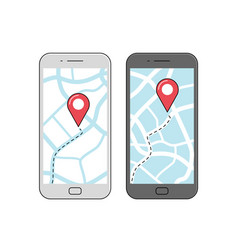gps navigation on screen mobile phone vector image