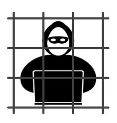 Hacker in prison vector