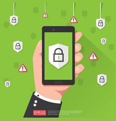hand holding phone with shield padlock protection vector image