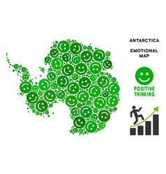 Happiness antarctica map collage of smileys vector
