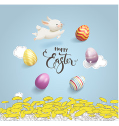 Happy easter inscription handwritten with vector