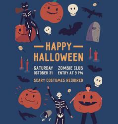happy halloween flat poster template vector image