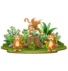 happy monkey group with green plants vector image