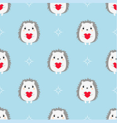 Hedgehogs with hearts seamless pattern vector