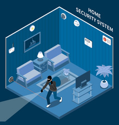 Home security isometric composition vector