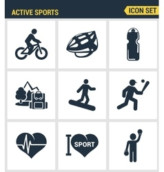 Icons set premium quality of active sports love vector image