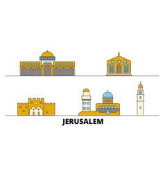 Israel jerusalem flat landmarks vector