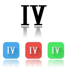Iv roman numeral icons colored set with vector