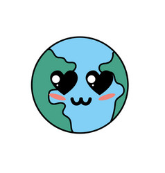 Kawaii cute tender earth planet vector