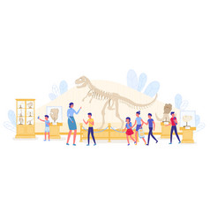 Kid educational excursion at paleontology museum vector