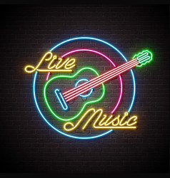 live music neon sign with guitar and letter on vector image