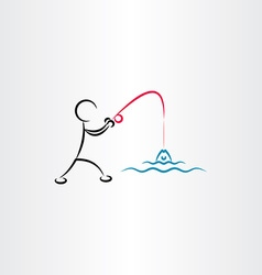 man fishing icon vector image