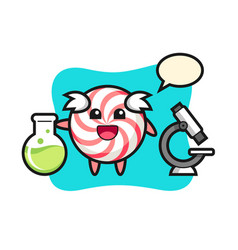 Mascot character candy as a scientist vector