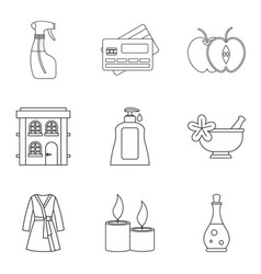 Masseur icons set outline style vector