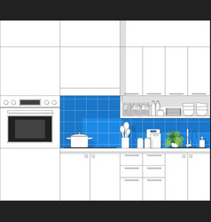 modern kitchen in black line sketch vector image