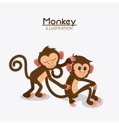 Monkey couple cartoon animal design vector