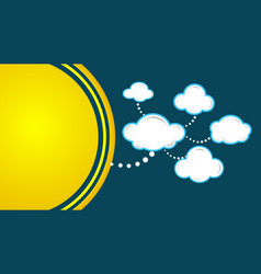moon background with paper clouds vector image