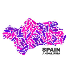 Mosaic andalusia province map of dots and lines vector