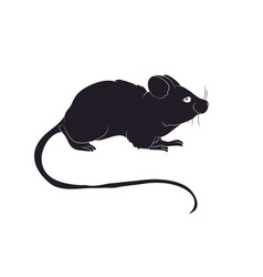 Mouse stands drawing silhouette vector