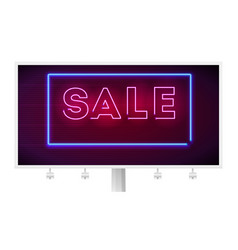 Neon sale sign on dark wall background editable vector