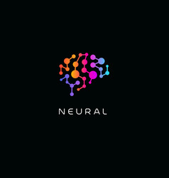 Neural network logo human brain emblem vector