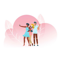 people take selfies pink composition with leaves vector image