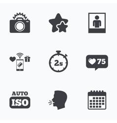 Photo camera icon Flash light and Auto ISO vector image