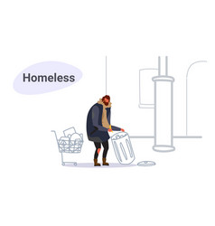 poor man with belongings in a trolley searching vector image