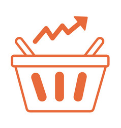 price hike shopping basket with arrow up vector image