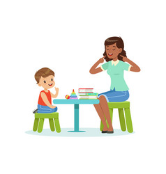 Professional speech therapy for preschool kid vector