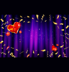 purple curtain with gold confetti and hearts vector image