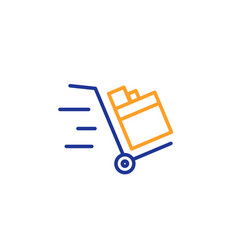 push cart line icon delivery service sign vector image