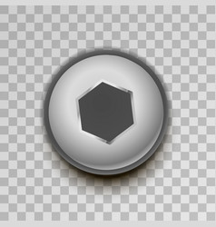realistic metal hexagon screw on transparent vector image