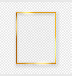 realistic shining metal picture frame on a wall vector image