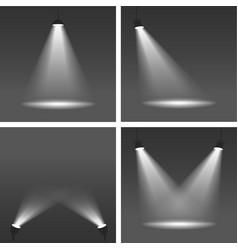 realistic spotlights on dark background vector image