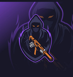 reaper soldier mascot esport logo vector image
