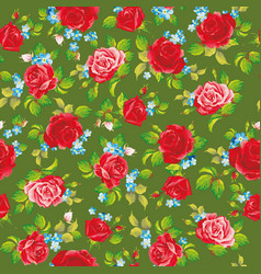 red natural roses seamless background vector image